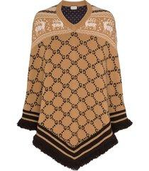 gucci gg logo knit wool poncho - brown