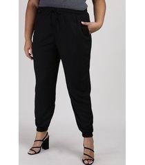 calça feminina plus size jogger cintura alta preta