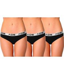 aqs women's 3-pack stretch-cotton bikini panties - black - size m