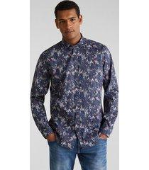 camisa slim con flores coolmax azul oscuro esprit