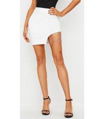 falda de talle alto con detalles de borla blanca de yoins