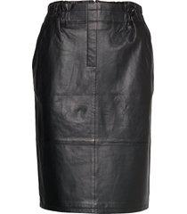 paia leather skirt knälång kjol svart minus