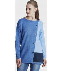 sweater con botones cruzados azul curvi