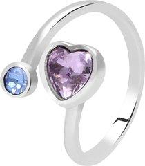 anello in metallo rodiato e pietre con cuore per donna