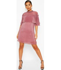 plisse ruffle neck shift dress, mauve