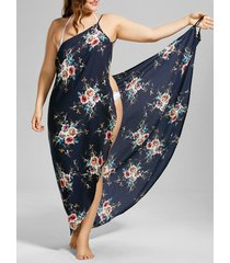 plus size tiny floral beach cover-up wrap dress