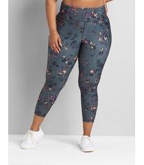 lane bryant women's livi high-rise wicking capri legging with pockets - hem detail 34/36 blushing floral