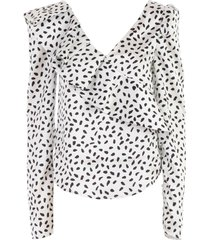 self-portrait dotted satin frilled top