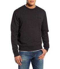 men's frame slim fit cotton crewneck sweatshirt, size medium - black
