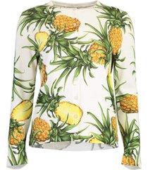 pineapple print long sleeve crew neck cardigan