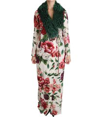 bloemen shift fur jas zijdekleding