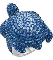 anello mustique sea life turtle, grande, blu, placcato palladio