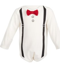first impressions baby boys bow tie & suspenders bodysuit, created for macy's