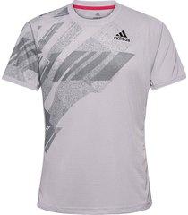 freelift printed tee heat.rdy t-shirts short-sleeved grå adidas performance