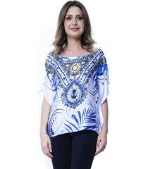 blusa 101 resort wear poncho crepe estampada folhagens branca