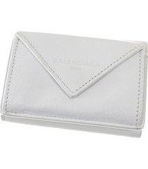 balenciaga papier leather compact wallet white sz: m