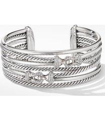 david yurman buckle crossover cuff bracelet with diamonds, size medium in silver/diamond at nordstrom