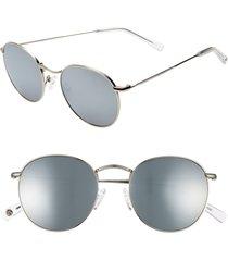 women's brightside charlie 50mm mirrored round sunglasses - silver/ silver mirror