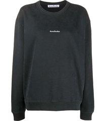 acne studios logo-print cotton sweatshirt - black