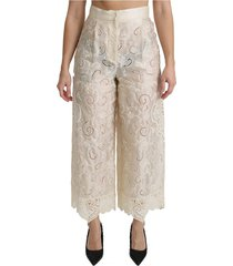 lace hoge taille palazzo cropped broek