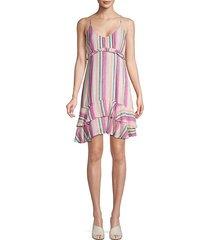 striped ruffle mini dress