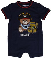 moschino bluee short sleeve jumpsuit with bear print