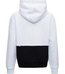 moncler bicolor jersey hoodie with logo print