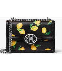mk borsa a spalla monogramme in pelle stampa limoni con catena - nero (nero) - michael kors