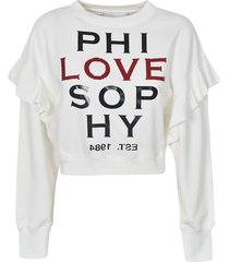 philosophy di lorenzo serafini crop ruffled sweatshirt
