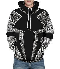 seamless tribal pattern front pocket drawstring hoodie