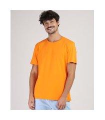 camiseta masculina manga curta básica gola careca laranja