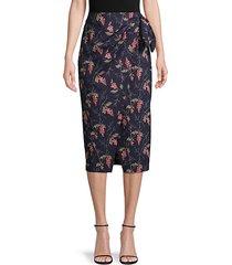 floral-print faux-wrap cotton skirt