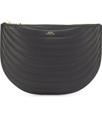 a.p.c. logo quilted clutch bag - black