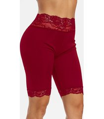 lace trim mid-rise short leggings