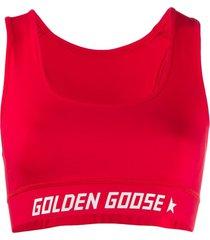 golden goose top esportivo com logo - vermelho