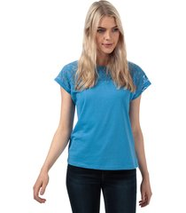 vero moda womens saga lace panel t-shirt size 14 in blue