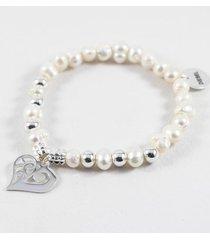 pulsera gris diesel perlas naturales y corazón plateado