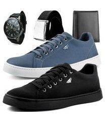 kit 2 pares de sapatênis dhl masculino cinza e preto + relógio + cinto e carteira
