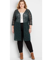 maurices plus size womens crochet button front duster cardigan green