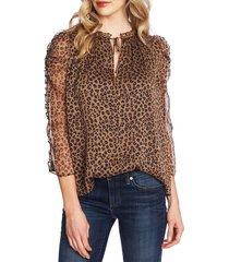 women's cece leopard tie neck blouse, size large - beige