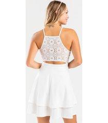 arica laser cut tiered mini dress - white