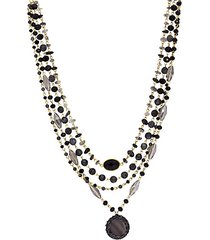 marie goldtone, agate, glass & mother-of-pearl beaded necklace