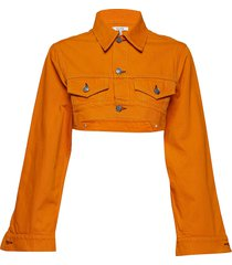 denim runway jeansjack denimjack oranje ganni