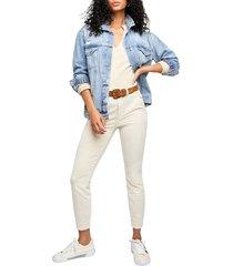 women's free people fine line straight leg crop jeans, size 2 - beige