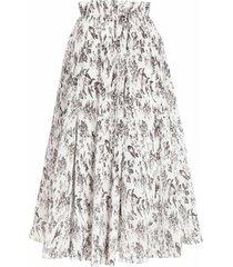 pleated high waisted full midi bird skirt