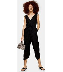 black relaxed embroidery jumpsuit - black