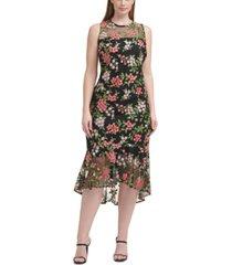 calvin klein plus size floral-embroidered midi dress