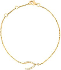 18k yellow gold diamond wishbone charm bracelet