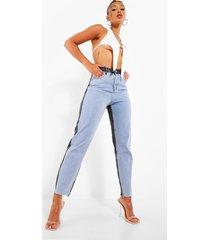 onbewerkte colour block skinny jeans met gerafelde zoom, light blue