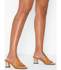 topshop mustard strappy mules high heel